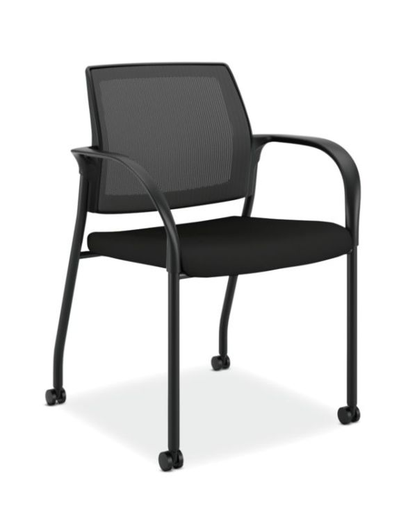 HON Ignition Multi-Purpose Stacking Chair | 4-Leg | Fixed Arms | All Surface Casters | Black 4-way stretch Mesh Back | Black Seat Fabric | Black Frame