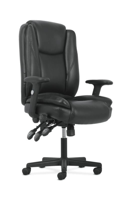 Sadie High-Back Task Chair | Height Adjustable Arms | Height Adjustable Back | Black Leather