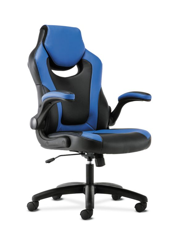 Sadie Racing Style Gaming Chair   Flip-Up Arms   Black and Blue Leather