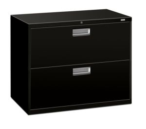 HON Brigade 600 Series Lateral File | 2 Drawers | Polished Aluminum Pull | 36″W x 18″D x 28-3/8″H | Black Finish