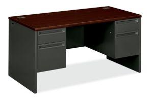 HON 38000 Series Double Pedestal Desk   2 Box / 2 File Drawers   60″W x 30″D x 29-1/2″H   Mahogany Laminate   Charcoal Finish