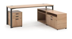 HON Manage L-Workstation | Desk, 2 File Centers, Pedestal | 72″W x 60″D | Wheat Laminate | Ash Finish
