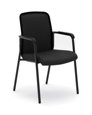 HON Instigate Mesh Back Stacking Multi-Purpose Chair | Fixed Arms | Black Fabric