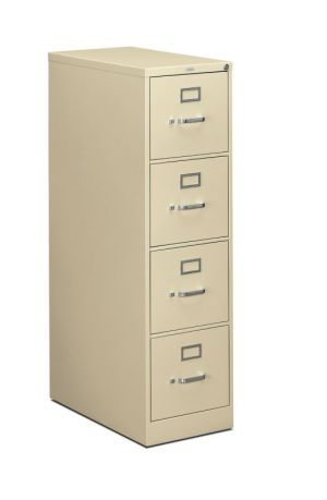 HON 310 Series Vertical File | 4 Drawers | Letter Width | 15″W x 26-1/2″D x 52″H | Putty Finish