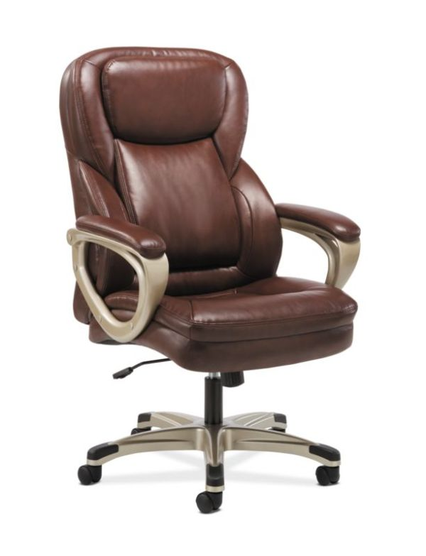 Sadie Executive Chair   Fixed Arms   Brown Leather