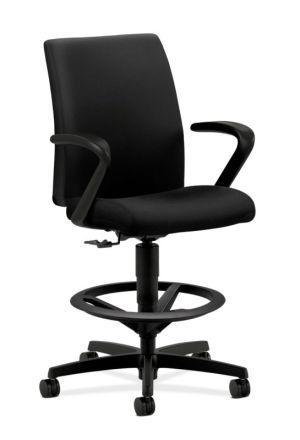 HON Ignition Task Stool | Adjustable Arms | Hard Casters | Upholstered Back | Black Fabric | Standard Base | Black Frame