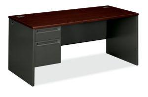 HON 38000 Series Left Pedestal Desk | 1 Box / 1 File Drawer | 66″W x 30″D x 29-1/2″H | Mahogany Laminate | Charcoal Finish