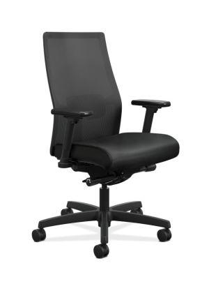 HON Ignition 2.0 Mid-Back Task Chair | Black 4-way stretch Mesh Back | Adjustable Lumbar Support | Black Frame | Black Vinyl