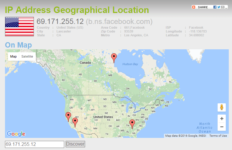 Facebook.com Geolocation based on IP