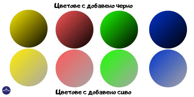 цветове с добавка на черно и сиво