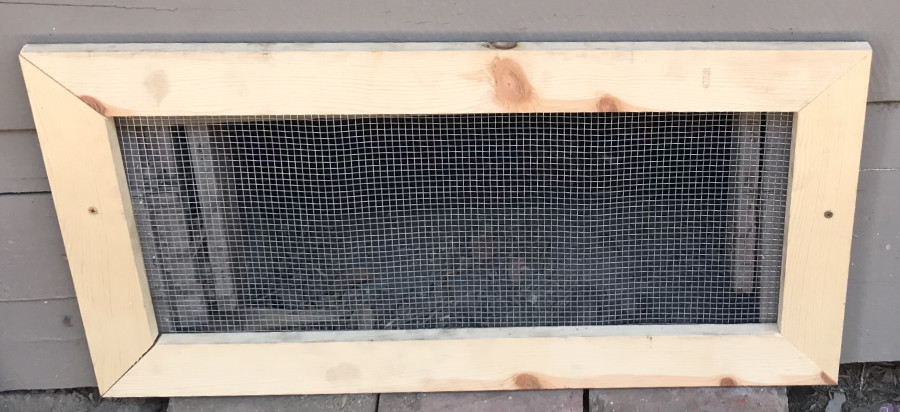 Custom-built screen installed at client home to keep out wildlife.