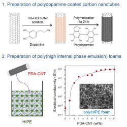 Conductive poly(high internal phase emulsion) foams incorporated with polydopamine-coated carbon nanotubes
