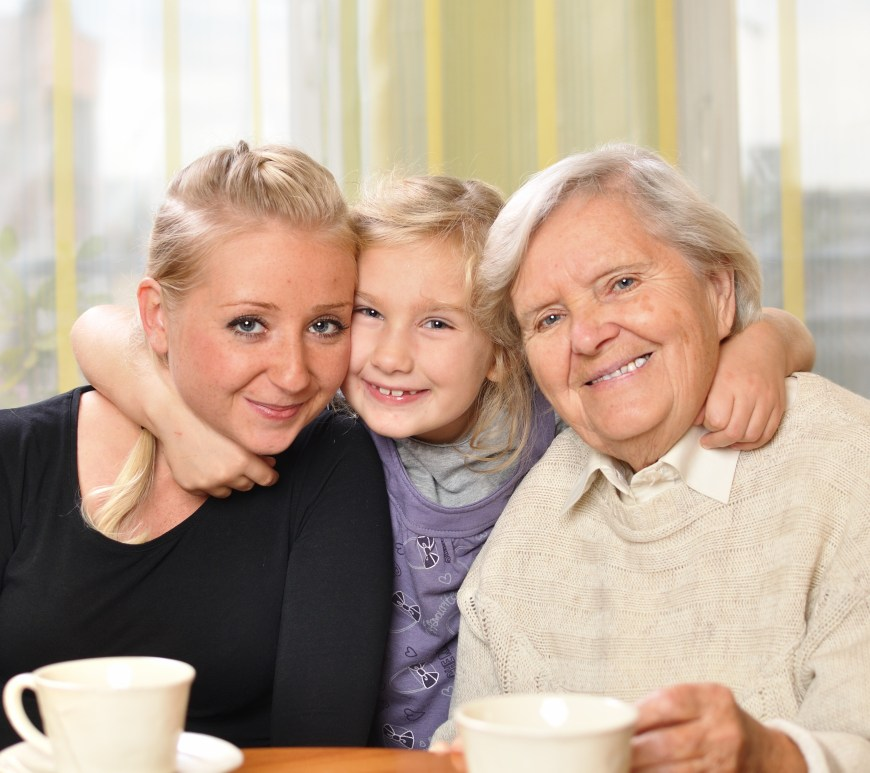Three women, three generations. Happy and smiling.