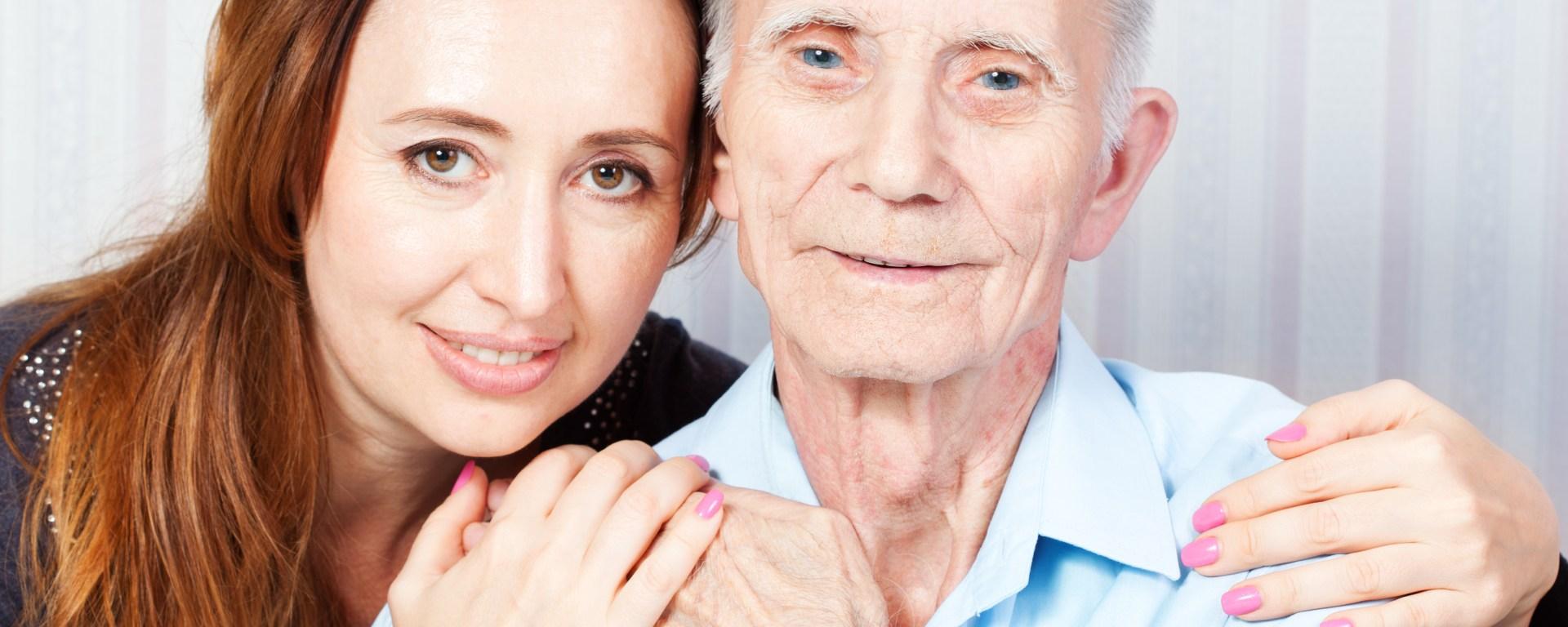 Senior man and granddaughter.