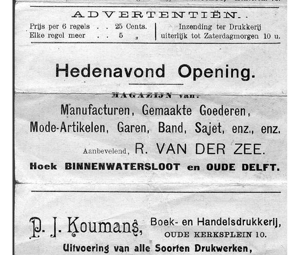 Advertentie in een Delfts kerkblad, september 1913