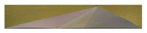 VERKOCHT Zonder titel; 2012-2014; 19,5 x 104 x 6 cm; latten, MDF, katoen, acrylverf, vliegertouw