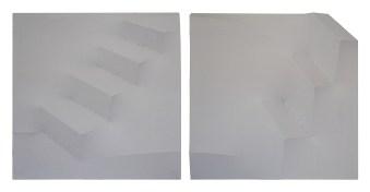 VERKOCHT Tweeluik; 2014; 2 x 60 x 60 x 7 cm; latten, MDF, katoen, acrylverf, vliegertouw