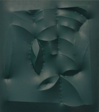 Zonder titel, 2017, Acrylverf, katoen, karton, MDF, vliegertouw 45 x 40 x 4 cm