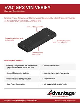 Evo VIN Verify - Hardware Specifications - Advantage GPS