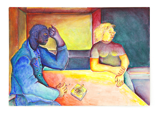 Couple at Table (Blue Man)