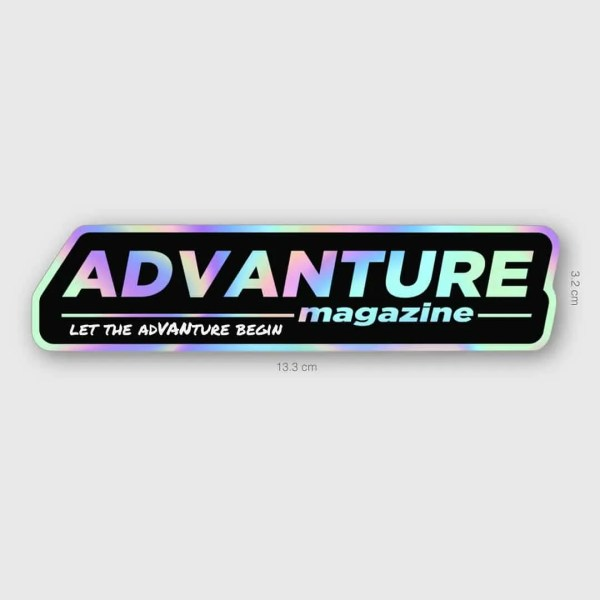 Advanture Magazine Holographic Bumper Sticker sizing