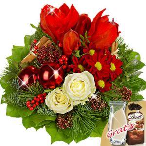 Blumenstrauß Weihnachtszeit mit Vase und Lindt Mandeln Quelle:floraprima.de