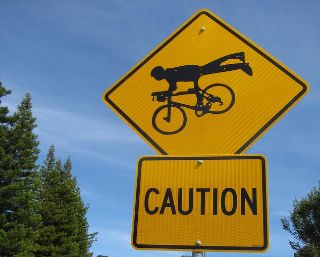 Cyclists crossing... horizontally?