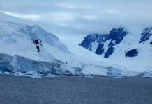Ice covers the cliffs of Antarctica