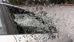 passenger car window exploding