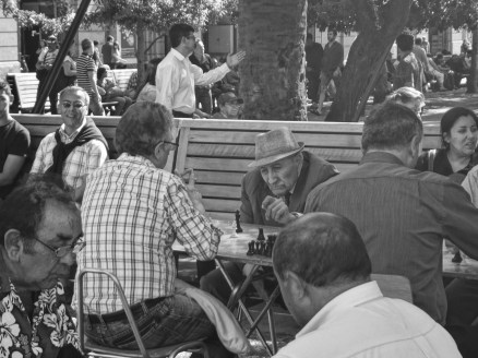 Chess competition in Plaza de Armas