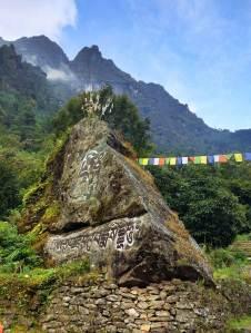 Prayer Flags and Prayer Stones along the Everest Base Camp Trek