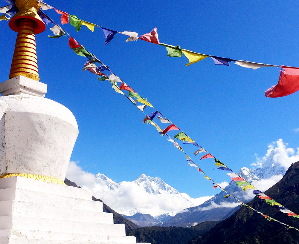 View of Everest and Stupa