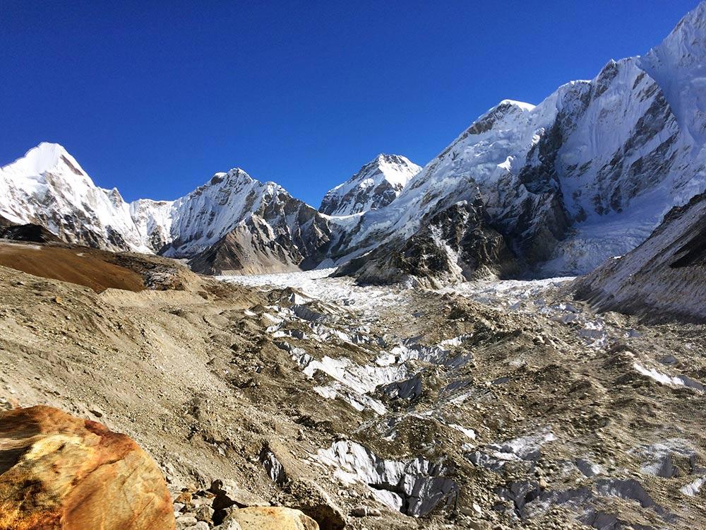Khumbu Glacier and Everest Base Camp in sight
