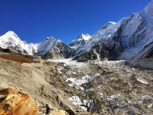 Khumbu Glacier and Everest Base Camp in sight