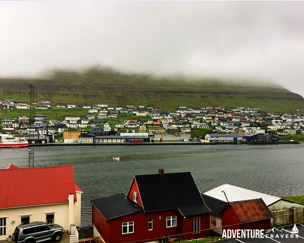 Rainy Day view of the harbor in Klaskviki n the Faroe Islands