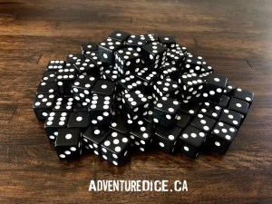 Black 6 Sided Dice with White Pips – 25 Pack