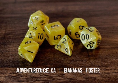 Bananas Foster RPG dice