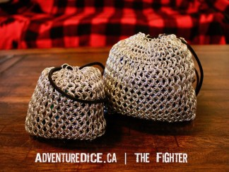 The Fighter silver chainmail dice bag