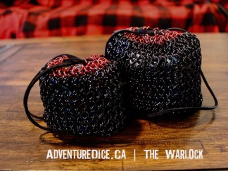 The Warlock red and black chainmail dice bag