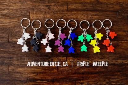 Triple Meeple Keychain
