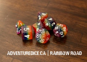Rainbow Road dice set