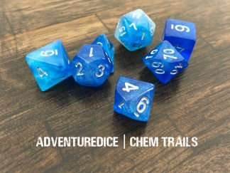 Chem Trails DND dice set (blue and white swirl with shimmer sparkles and silver numbering)
