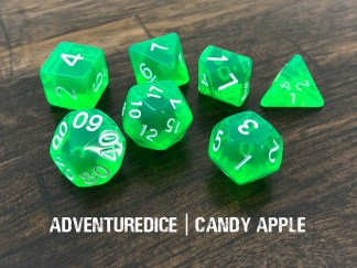 Candy Apple DND dice set (transparent green with white numbering)