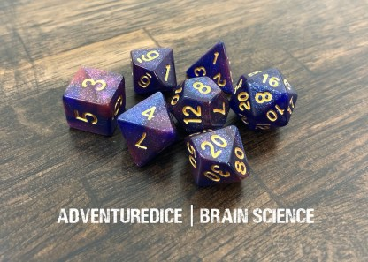 Brain Science DND dice set (purple and pink swirl with gold number)