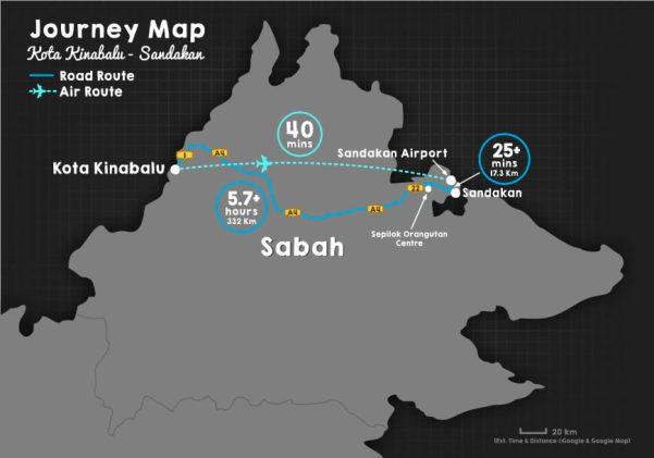 サンダカンへの地図