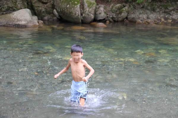 烏川で遊ぶ写真