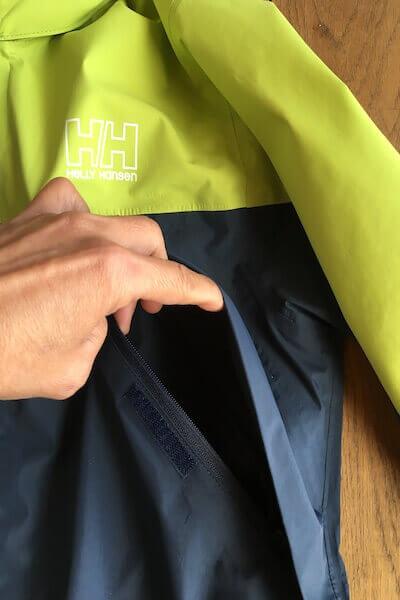 ジャケットのポケットの写真