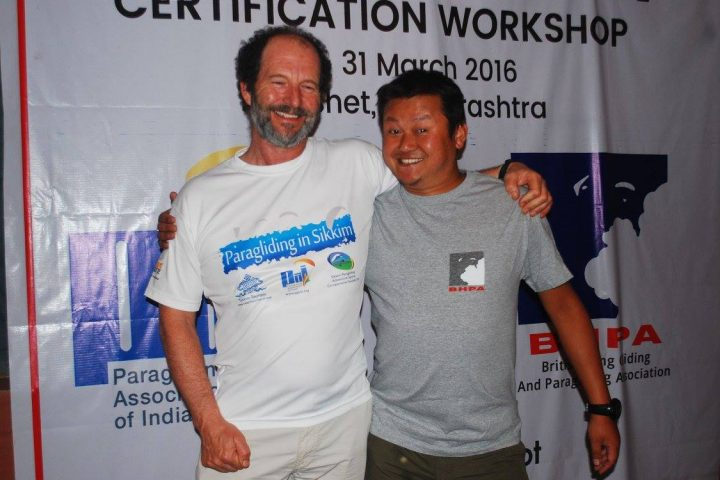 IAN Currer, Asst. Technical Officer, BHPA with Raju Rai
