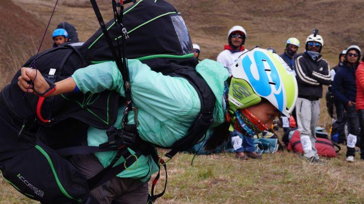 Sikkim female pilot Cheden Bhutia - taking off at Mechukha
