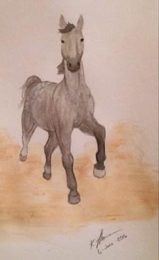 Quick Dapple Gray Horse Painting, Acrylic Paint, 6 June 2016